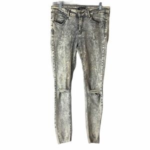 Fashion Nova Acid Wash Ripped Hem Distressed Jeans